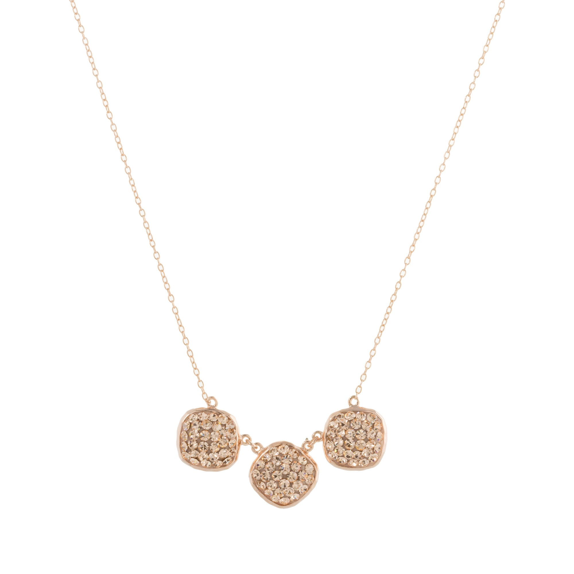 Rose Gold Light Peach Crystal Triple Square Necklace