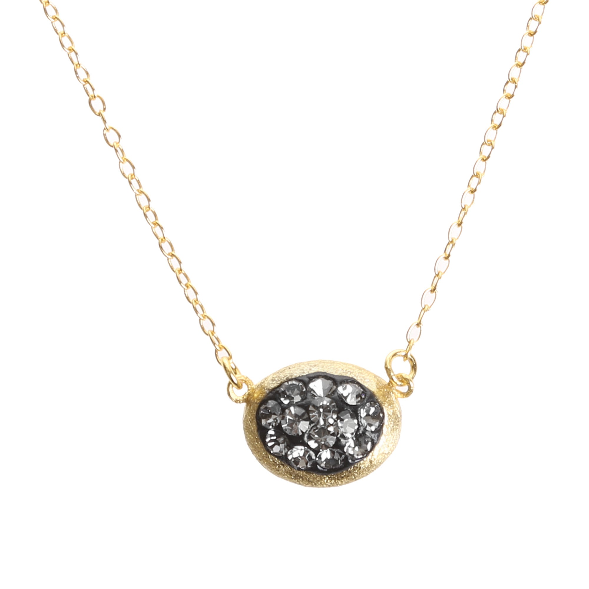 Black Diamond Crystal Mini Oval Necklace