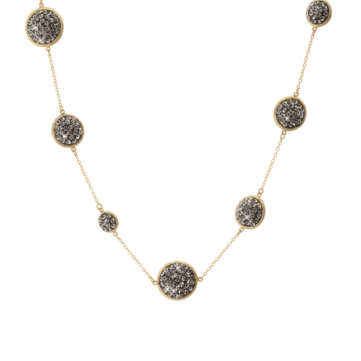 Black Diamond Crystal Multi Size Round Double-Sided 18 Inch Necklace