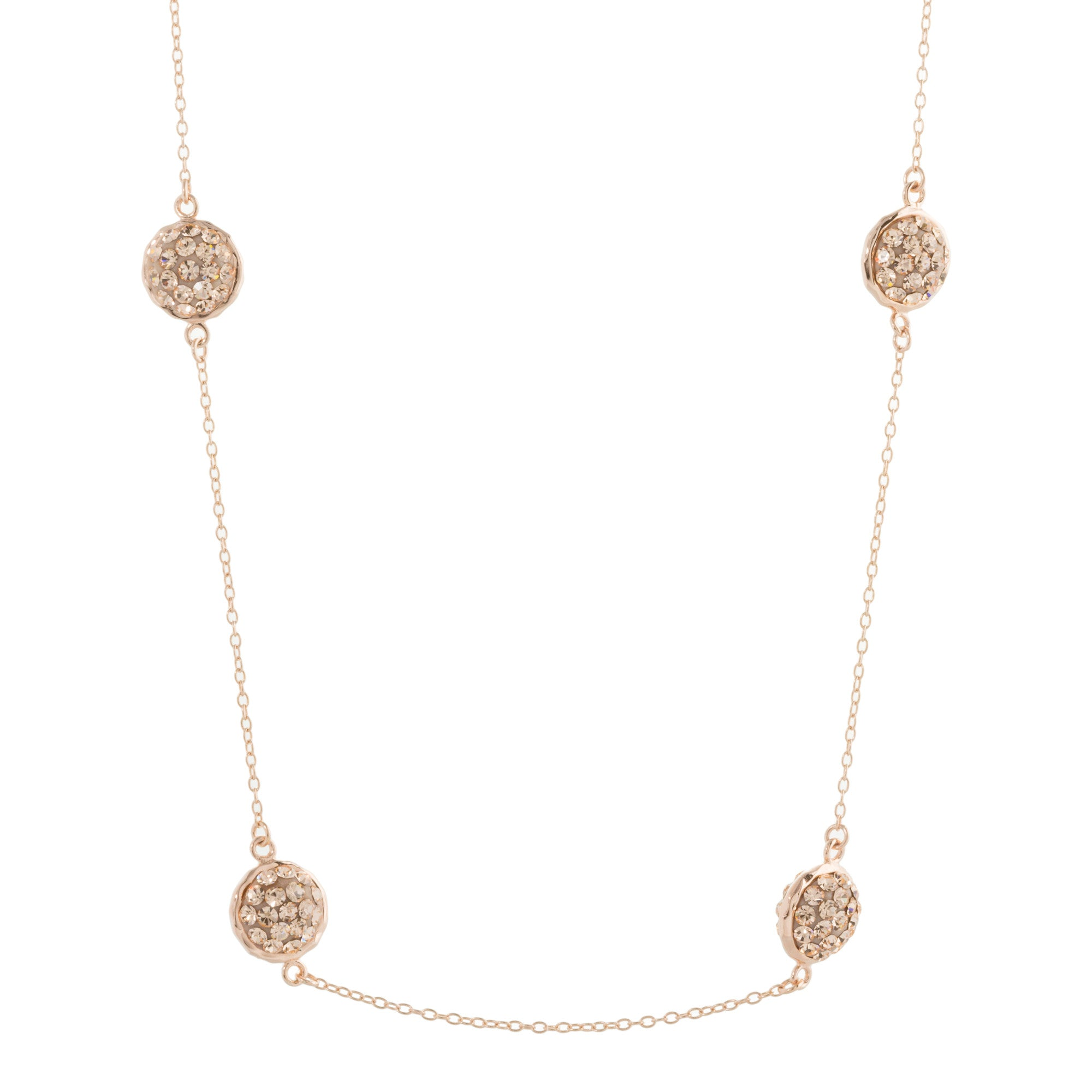 Rose Gold Light Peach Crystal Multi Round Double-Sided Necklace