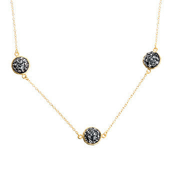 Black Diamond Crystal Multi Round Double-Sided Necklace
