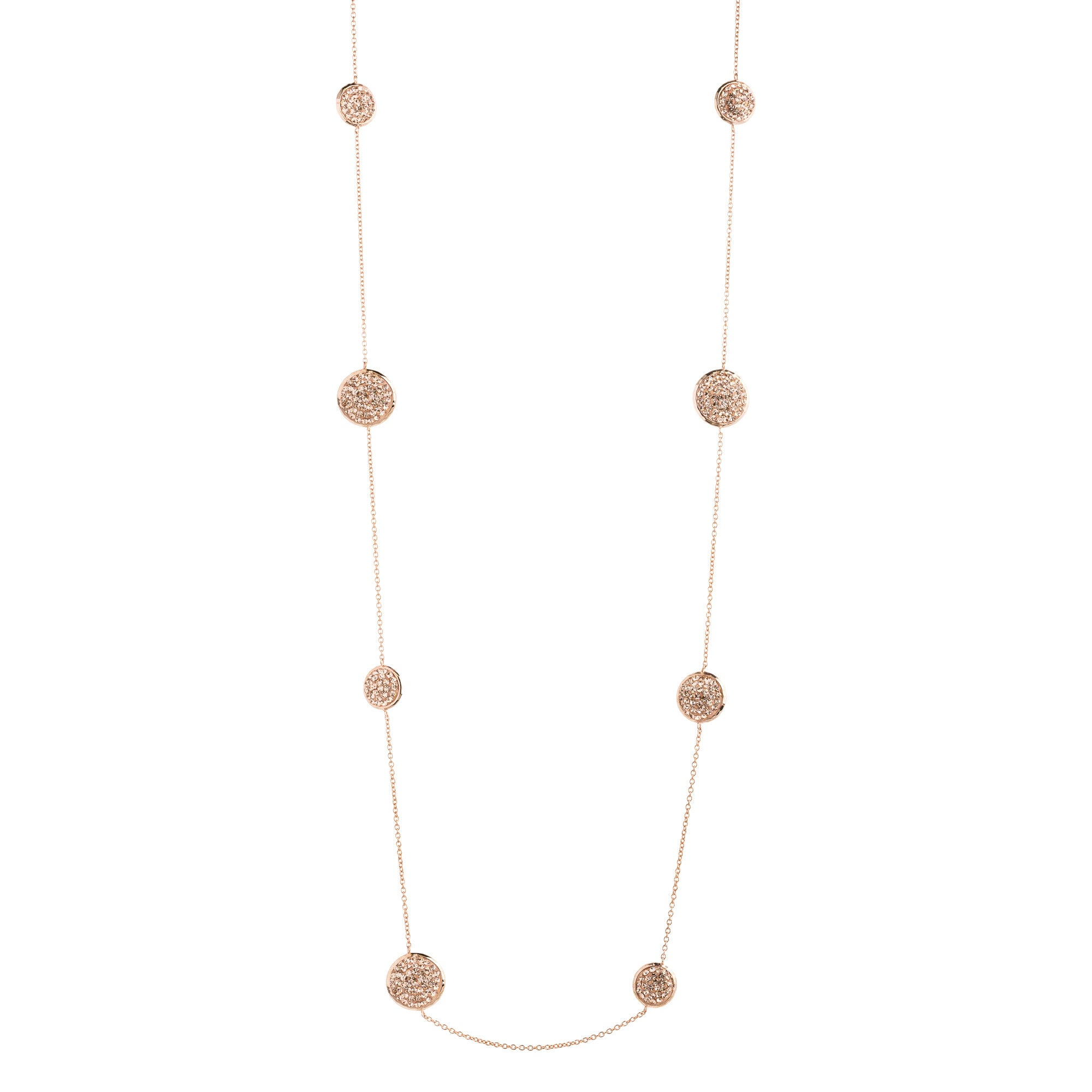 "36"" Rose Gold Light Peach Crystal Round Necklace"