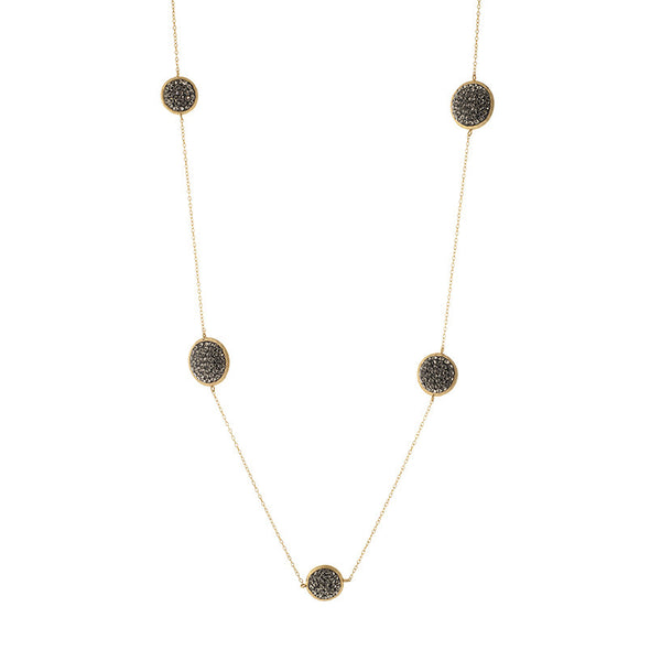 Black Diamond Crystal Multi Size Round Double-Sided 42 Inch Necklace