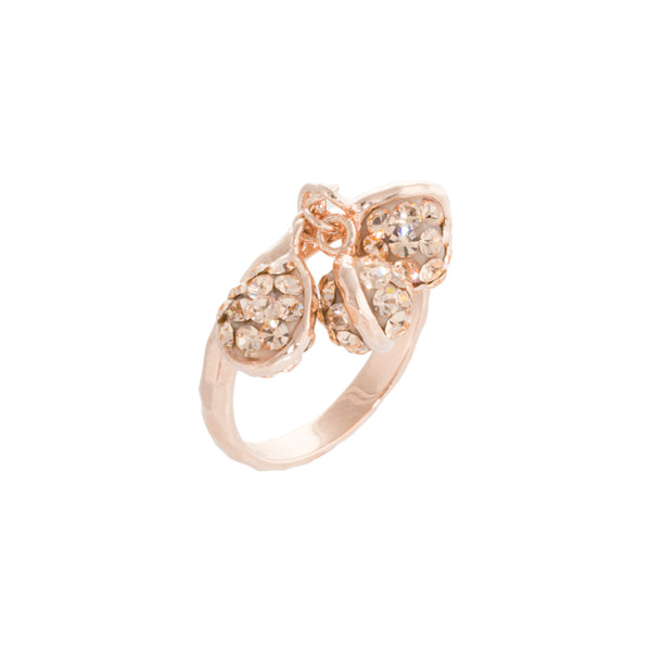 Rose Gold Light Peach Crystal Multi Double-Sided Shape Drop Textured Ring