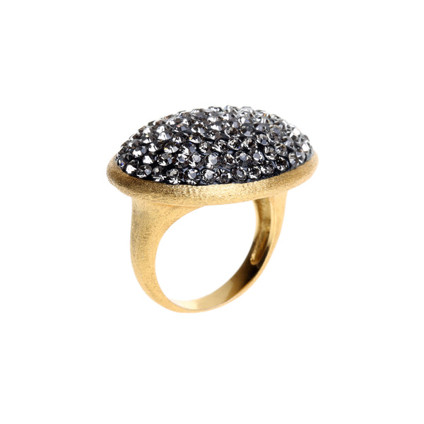 Black Diamond Crystal Oval Statement Ring