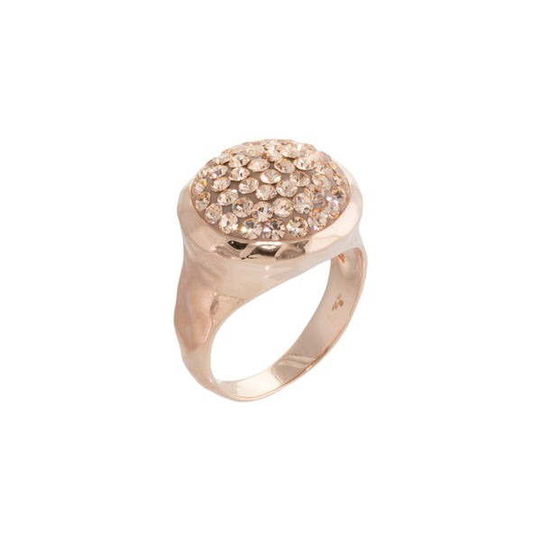 Rose Gold Light Peach Crystal Round Ring