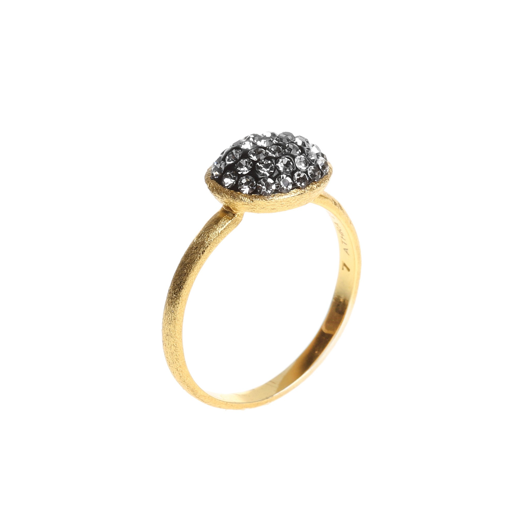 Black Diamond Crystal Oval Ring