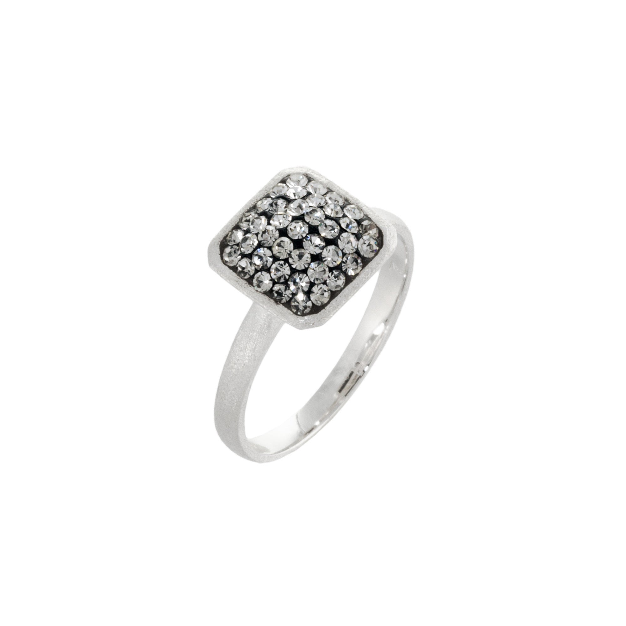 Black Diamond Crystal Square Ring