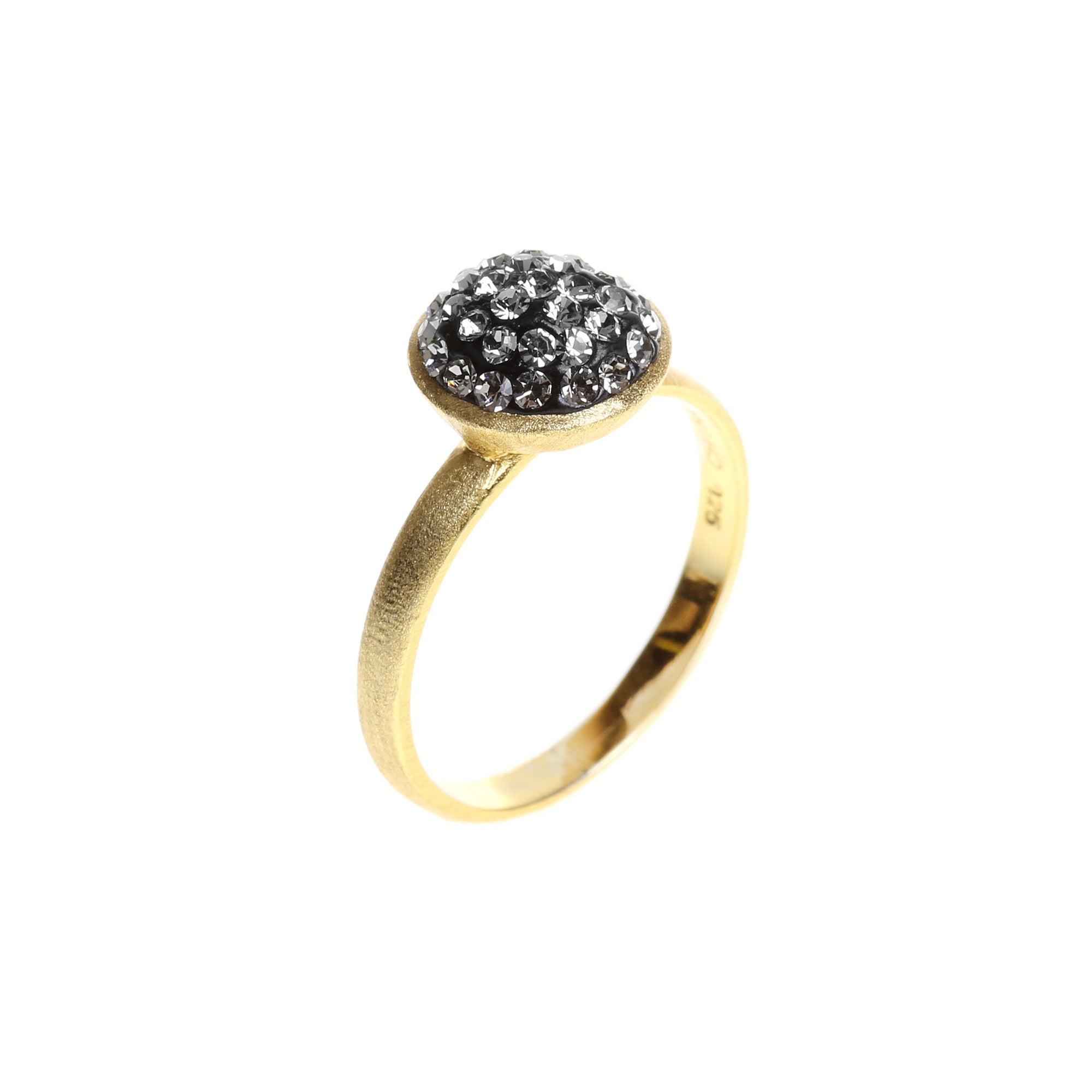 Black Diamond Crystal Circle Ring