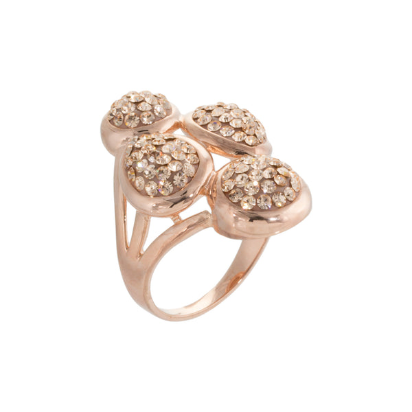 Rose Gold Light Peach Crystal Multi Shape Cluster Ring