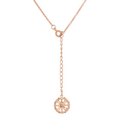 Rose Gold Light Peach Crystal Oval Necklace