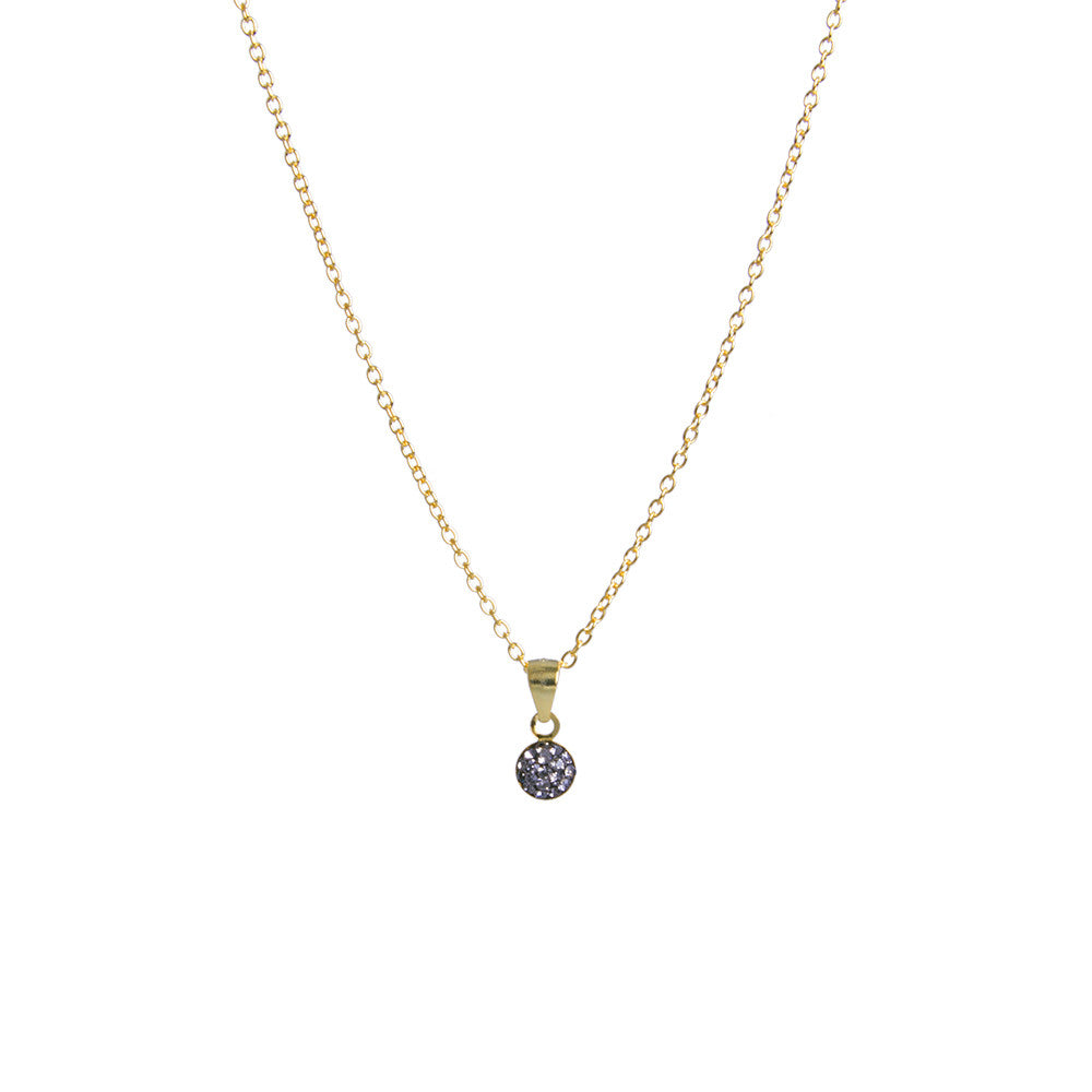 Black Diamond Crystal Mini Round Necklace