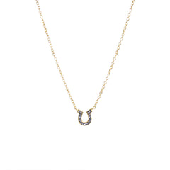 Black Diamond Crystal Horseshoe Necklace