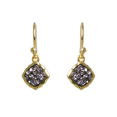Black Diamond Crystal Square Drop Earring