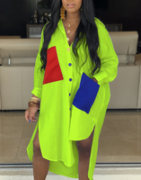 Neon Pocket Shirt Dress