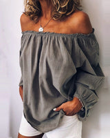 Off the Shoulder Long Sleeve Blouse