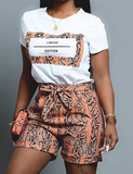 Snakeskin Tee & Shorts Set