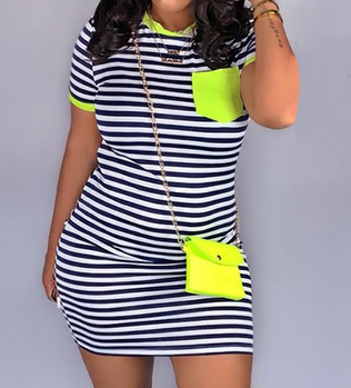 Striped Neon Short Bodycon