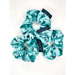 Custom Velvet Luxe Scrunchie - Teal with Black Eyelash Print