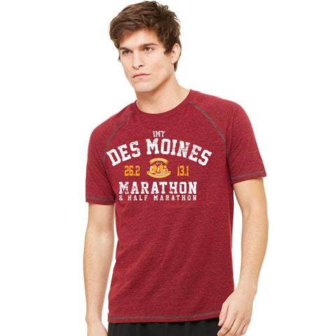 Men's SS Triblend Tee -Red Heather 'Collegiate Design' - Des Moines Marathon