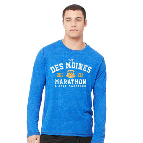 Men's LS Triblend Tee -Royal Heather 'Collegiate Design' - Des Moines Marathon