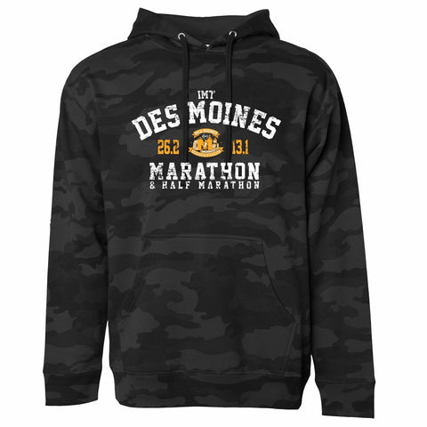 Men's Fleece Hoody -Black Camoflauge 'Collegiate Design' - Des Moines Marathon