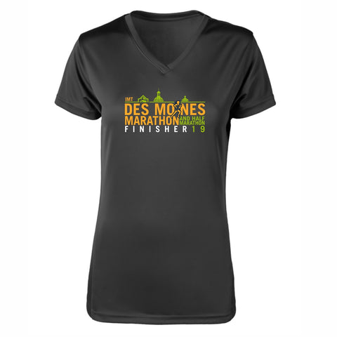 Women's SS Tech V-Neck Tee -Black 'Finisher 2019 Design' - Des Moines Marathon