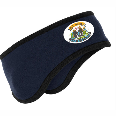 2-Color Fleece Ear Warmer -True Navy / Black Trim 'Event Logo Design' - Des Moines Marathon