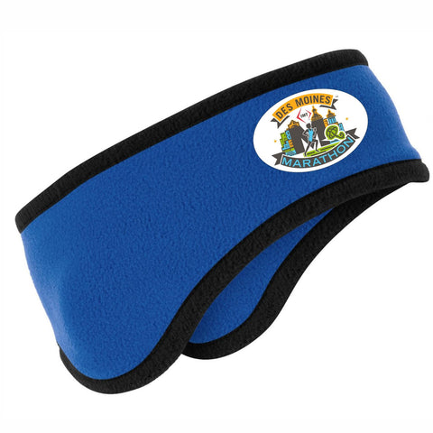 2-Color Fleece Ear Warmer -Royal / Black Trim 'Event Logo Design' - Des Moines Marathon
