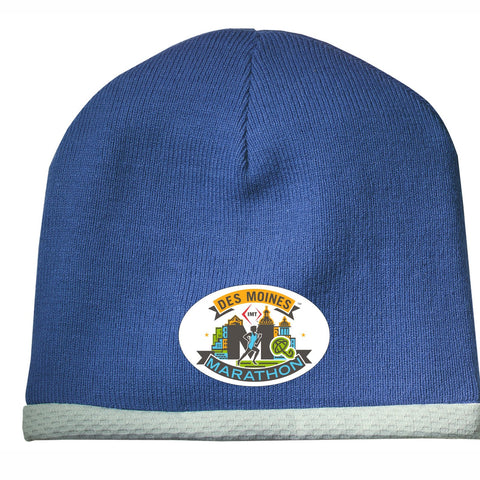 Tech Knit Beanie -True Royal 'Event Logo Design' - Des Moines Marathon