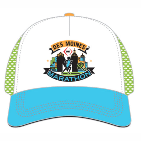 5-Panel Tech Trucker -White / Blue Bill 'Event Logo Design' - Des Moines Marathon