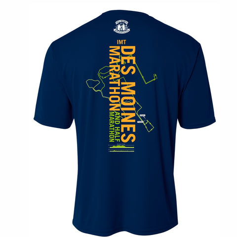 Men's SS Tech Tee -Navy 'Course 2019 Design' - Des Moines Marathon