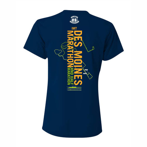 Women's SS Tech V-Neck Tee -Navy 'Course 2019 Design' - Des Moines Marathon