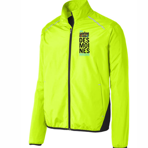 Men's Ltwt Runner's Zip Jacket -Safety Yellow 'Left Chest Print Design' - Des Moines Marathon
