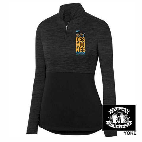 Women's Tonal Heather 1/4 Zip -Black 'Left Chest Print Design' - Des Moines Marathon