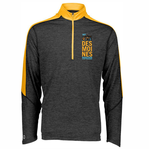 Men's Contrast Color Tech 1/2 Zip -Black Heather / Light Gold 'Left Chest Print Design' - Des Moines Marathon
