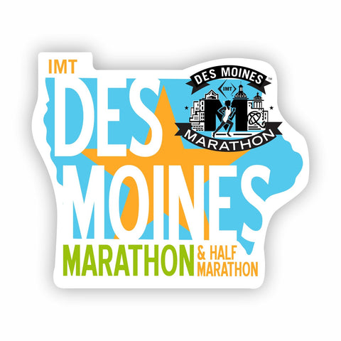 Sticker -Blue/Orange/White 'Die Cut State Logo Design' - Des Moines Marathon