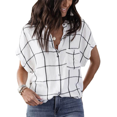 Business Short Sleeve Plaid Blouse