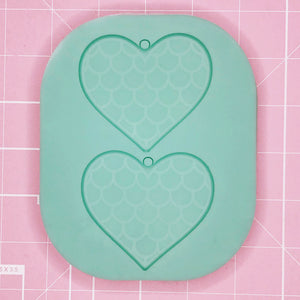 Earring Mold: Large Mermaid Heart Earrings [Solid]