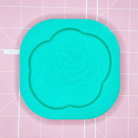 Coaster Mold: Etched Rose (Solid)