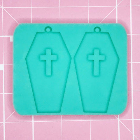 Earring Mold: Coffin Cross Earrings [Solid]