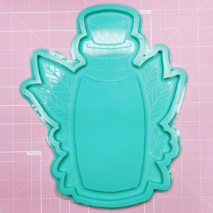 "Tray Mold: 10"" Floral Bottle Tray - [Etched / Backed]"