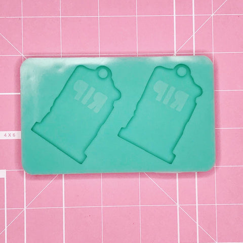 Earring Mold: Tombstone RIP Earrings [Etched / Solid]