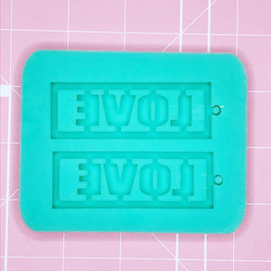 Earring Mold: 4 Letter Word - LOVE [Solid]