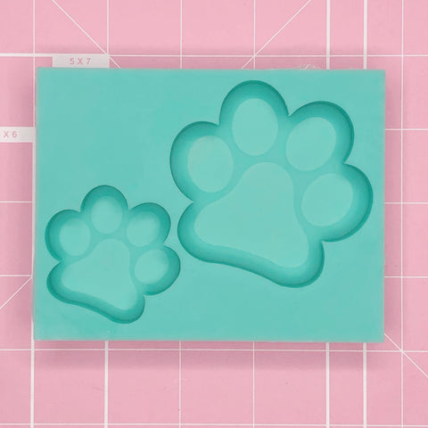 Duo Cavity Mold: Paw Print Charm & Grippie Duo [Etched / Solid]]