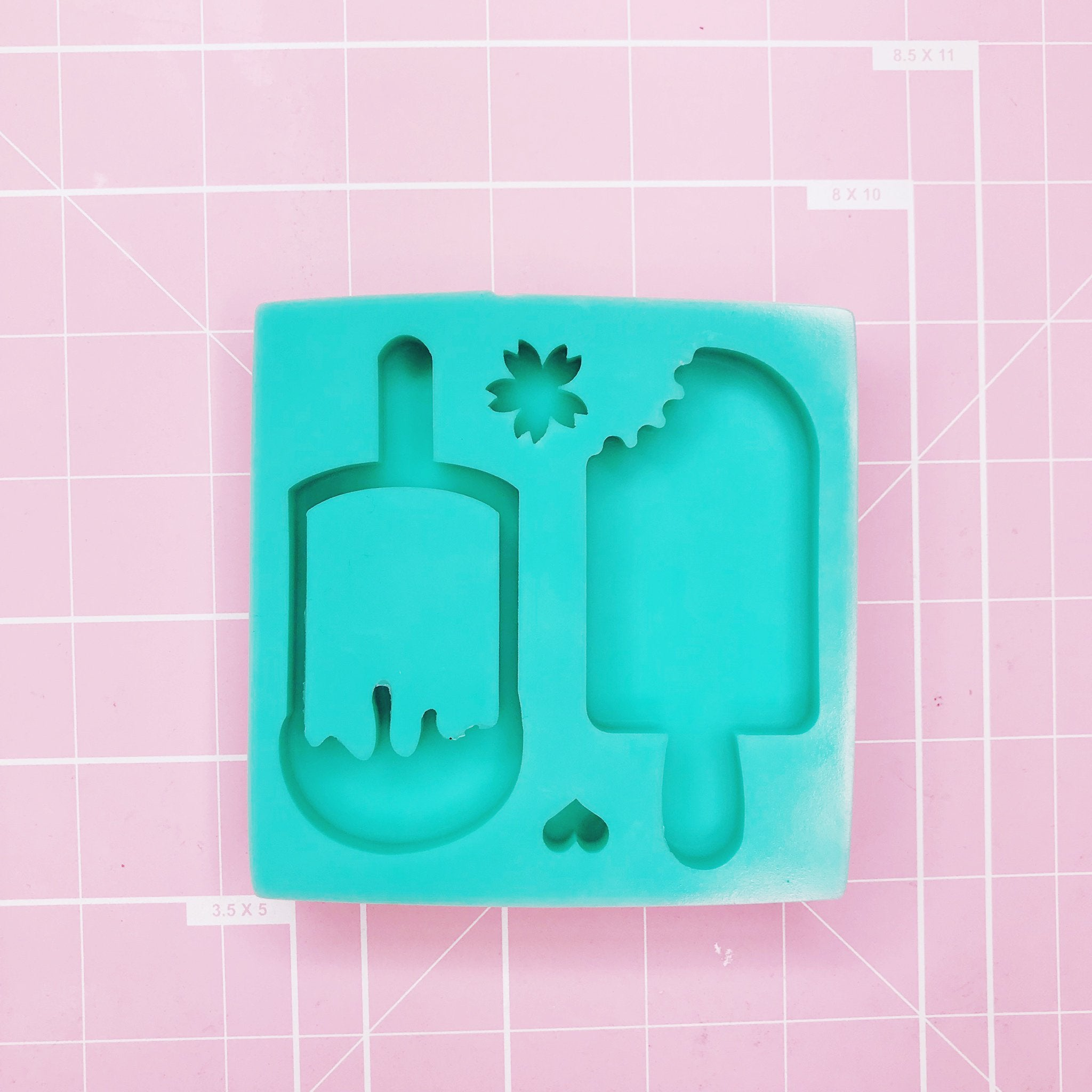 Medium Square Mold - Pop / Pop Shaker (Sakura/heart) - Chala Atelier & Supplies