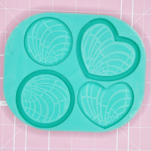 Palette Mold: Concha Quad (Round / Heart) [Etched / Solid / Backed]
