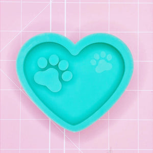 Round Mold - Paw Print Heart (Backed) - Chala Atelier & Supplies
