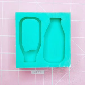Medium Square Mold - Vintage Milk Bottle & Shaker - Chala Atelier & Supplies