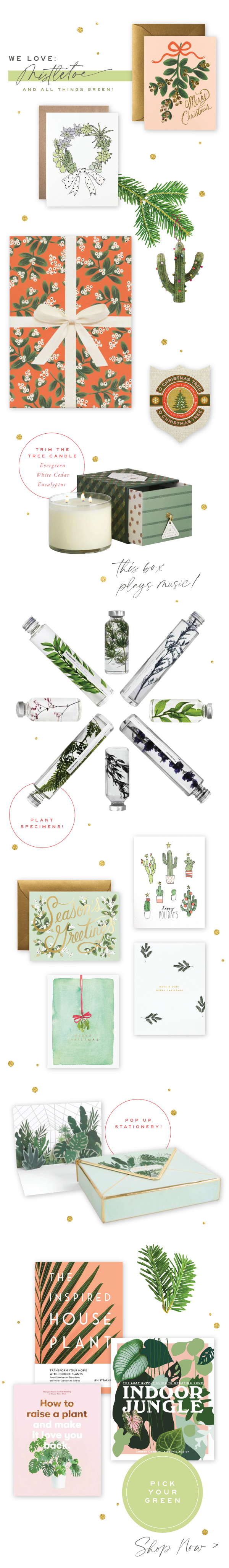 Urbanic Paper Boutique Venice Design Christmas Holiday Mistletoe Green Cards Gifts Wrap